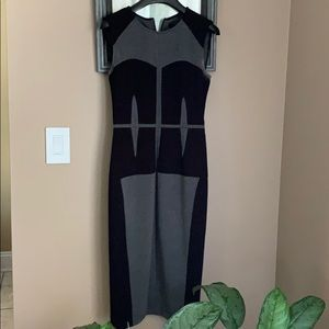 BCBGMAXAZRIA Grey And Black Dress Sz XS